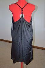 NWT Go International Women Dress Large Black Polyester flowy Spaghetti Straps