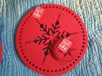 BN SET 4 RED FELT CHRISTMAS SNOWFLAKE TABLE PLACEMATS 4 COASTERS XMAS PLACE MATS