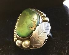 American Sterling Silver & Green Turquoise Stone In Matrix Ring