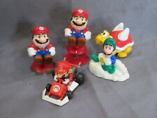 Lot 5 Vintage Mario 1989 PVC Figures Pop Up Vehicle Toy Set Toad Luigi Nintendo