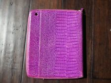 Smythson Of Bond Street iPad Cover Case Embossed Purple Calf Skin Leather 8x10