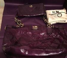 Authentic Coach Purple Patent Handbag Medium Purse Wallet Dust bag Tote