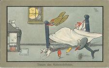 Traum des Automobilisten, Mann fährt Auto im Bett, M. Munk, Wien, Ak von 1919
