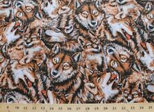Wolves In The Wild Allover Wolf Wolves Animals Cotton Fabric Print BTY D584.08