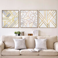 EG_ GEOMETRIC ABSTRACT GOLDEN PRINT PICTURE WALL PAINTING HOME DECOR UNFRAMED KA