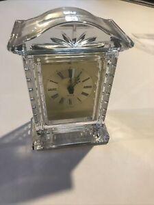 Vintage Hechinger West Germany Lead Crystal Desk Clock WORKS Quartz Time Austria