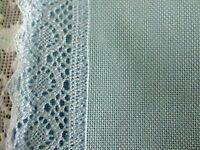 """New Made In Austria 36"""" x 36"""" Large Blue Piece ApProx 22 Count Lace (Tablecloth"""