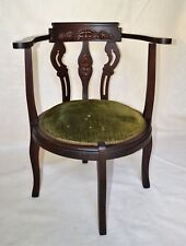 Antique English Victorian Corner Parlor Chair with carved face