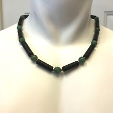 Handmade Mens Statement Necklace of Blackstone, Green Quartz and Bronze Beads
