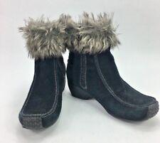 Womens Sporto Booty Boots Sz 6.5 Black Faux Fur Winter Side Zip Boot