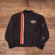 "Mens Vintage Harley Davidson Racing Black Mesh Bomber Jacket Large 46"" R6040"