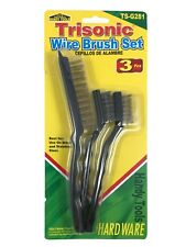 Wire Brush Set For Use On Brass Stainless Steel 3 Piece Set Trisonic TS-G281