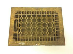 Antique Old Cast Iron Metal Gold Honeycomb Pattern Heating Floor Grate
