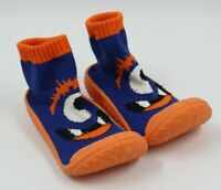 Lilly & Dan Baby Boys Orange Navy Rubber Sole Sock Shoes Size 18-24 Months