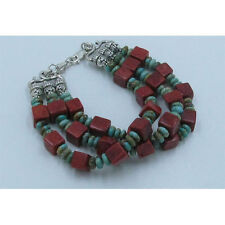 3 Strand .925 Sterling Silver Natural Green Turquoise Red Coral Square Bracelet