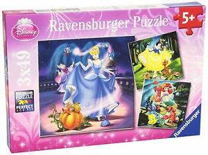 Ravensburger - Disney Snow White, Cinderella and Ariel Puzzle 3x49pc