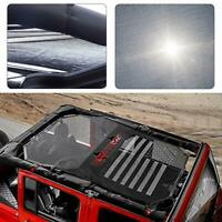 US Flag Mesh Shade Top Cover Provides UV Sun Protection for Jeep Wrangler 4 Door