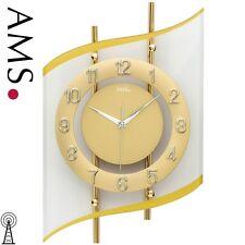 AMS 5505 Wanduhr Funkuhr goldfarben modern Uhren-neu
