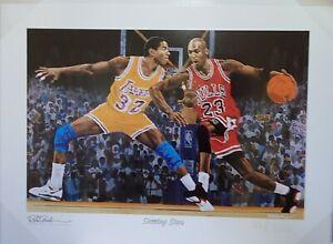 "Rick Rush Michael Jordan & Magic Johnson ""Shooting Stars""  Fine Art Lithograph"