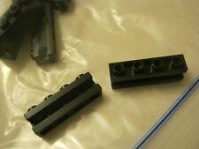 Lego Lot Of 8 Black 1x4 Modified Bricks ith ide Rail Groove (028-19)