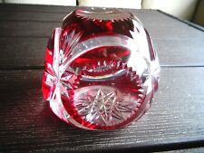 1920's Val St. Lambert Art Glass RED OVERLAY CUT to Clear Faceted Paperweight
