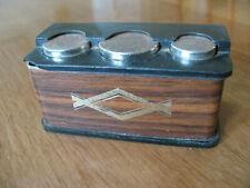 Vintage Magnetic Coin Holder Spring Loaded Spare Change Faux Wood 1960s