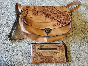 Patricia Nash Brown Leather Embossed Map Crossbody Saddle With matching Wallet