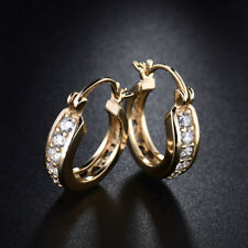 Vintage Yellow Gold Filled Huggies Diamond Clear Gemstone Lady Banquet Earrings