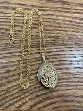 Vintage Gold Tone Filigree Oval Locket Necklace