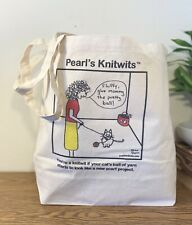 Tote Bag Knitting Shopping Craft Travel Canvas - Pearl's Knitwit: Cat With Yarn