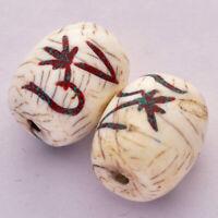 Turquoise Coral Conch Shell Om 2 Beads Yoga Meditation Tibetan Buddhist AA358