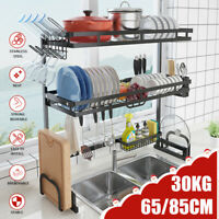 1/2Tier Dish Drainer Rack Storage Drip Tray Over Sink Drying Draining Plate Bowl