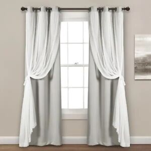 """Lush Decor Sheer Grommet Curtain Panels w/Insulated Blackout Lining 38"""" x 108"""""""