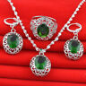 Wedding Jewelry Set 925 Silver Plated Crystal Necklace Earring Ring Bridal Gems
