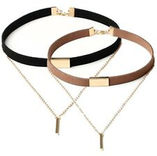 Charm Women's Black Brown Velvet Choker Necklace Pendant Chain Gold Bar Jewelry