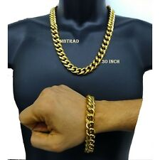 Mens Stainless Steel 30 Inch Cuban Miami Link Bracelet & Chain Set 14k Plated