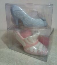 "Blue & Pink Shoe Shaped Candle Holders (4 candles included) 3"" x 2 1/2"""