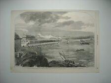 GRAVURE 1859. VIADUC SUR LE CHEMIN DE FER DE GALVESTON A HOUSTON ET HENDE SON...