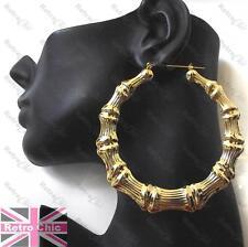 HUGE 9cm BIG BAMBOO EARRINGS creole hoops ROUND HOOP fashion celebrity GOLD TONE