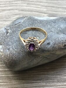 9ct Gold Amethyst CZ Cluster Ring Hallmarked Size O