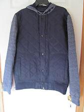 NWT Men's i Jean by Buffalo 100% nylon Dark Blue Button up hooded jacket Size M