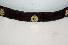HAT BAND WESTERN COWBOY  CUSTOM HANDMADE ENGLISH BRIDLE LEATHER WITH 6 SHELLS