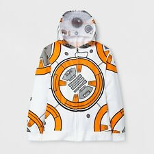 NWT Boys M White/Gray/Orange BB-8 Print Star Wars Costume Hoodie Sweatshirt YM