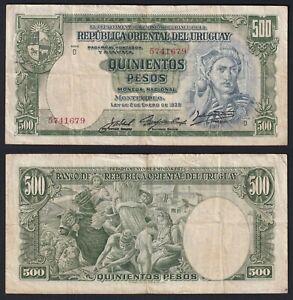 Uruguay 500 pesos 1939 BB/VF  B-04