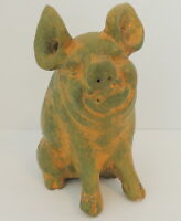 Clay Pottery Pig Statue Mexican Terracotta Folk Art Table Top Sponge Painted