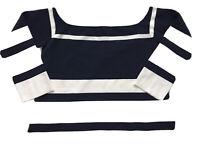 J. Crew Women's Top-Sweater-M-Off shoulder-Navy/White Stripe-G3575-3/4 sleeve