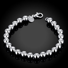 """8"""" Mens Womens 925 Sterling Silver 8mm Beads Ball Link Chain Bracelet #BR432"""