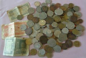 Lot de pièces de monnaie  et billets  étrangers à trier