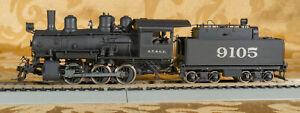 HO Custom Painted Brass A.T. & S.F. 0-6-0 Steam Locomotive & Tender #9105