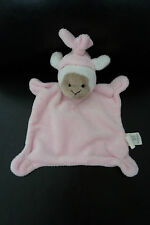 43/ DOUDOU PLAT - CARTOON CLUB - MOUTON rose - EXTRA DOUX - EXCELLENT ETAT